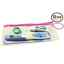 Dental Patient Giveaway or Travel Kit, Container zipper color may vary between Pink, Blue, Green OR Red Color (Adult, Pack of 12)