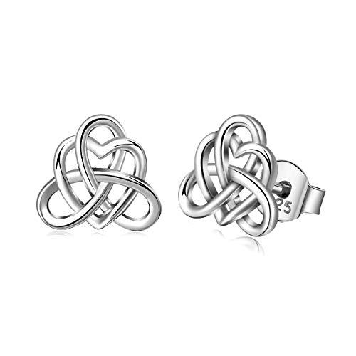 (AEONSLOVE 925 Sterling Silver Stud Earrings, Good Luck Irish Celtic Knot Jewelry Gifts for Women/Girls (CYE071))