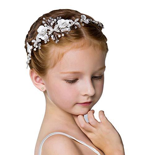 Cute Princess Wedding Headpiece White Flower girls Headband Pearl Hair Dress for Girl