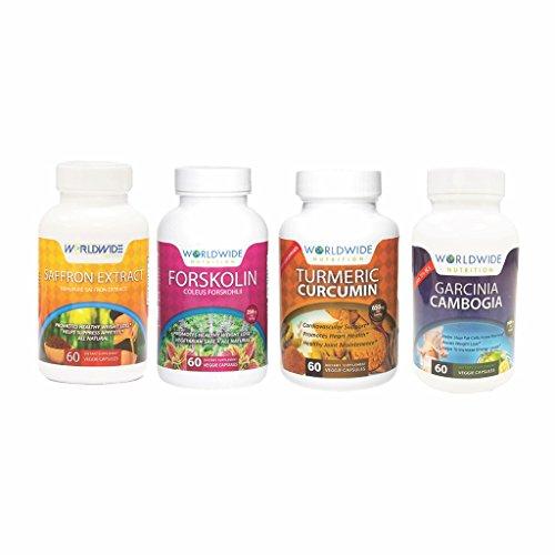 Worldwide Nutrition Vegan Vitamins Kit (Turmeric Curcumin, Forskolin, Garcinia Cambogia, Saffron Extract) For Sale
