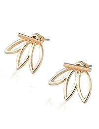 Lotus Studs Ear Crawler Earrings Cuff Climber Ear Wrap Pin Vine Pierced Charms Geometric Clip On Jewelry