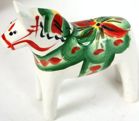 - Traditional Wooden Swedish Dala Horse - White 2