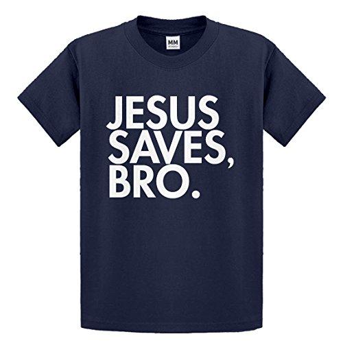 Indica Plateau Youth Jesus Saves Bro Large Navy Blue Kids T-Shirt