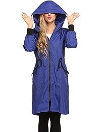 Women's Lightweight Waterproof Raincoat With Hood Long Outdoor Hiking Rain Jacket