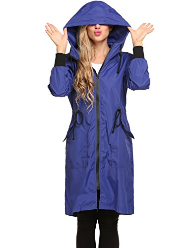 Zeagoo Women's Lightweight Waterproof Raincoat With Hood Long Outdoor Hiking Rain Jacket (Dark Blue, Large)