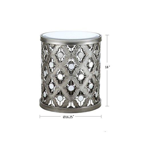 Arian Quatrefoil Mirror Accent Table Silver See Below by Madison Park