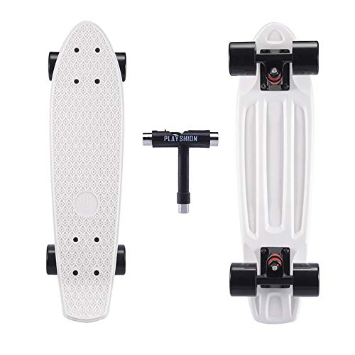Playshion Complete 22 Inch Mini Cruiser Skateboard for Beginner with Sturdy Deck White (Penny Board Blue And Black)