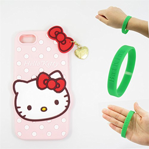 5S Case,iPhone 5 Case,iPhone 5S Kitty Silicone Case,Bat King Fashion Cartoon Hello Kitty 3D Cute Silicon Gel Rubber Back Cover Case Skin for Apple iPhone 5/5S/5C/SE(Pink - Case Hello 5s Kitty