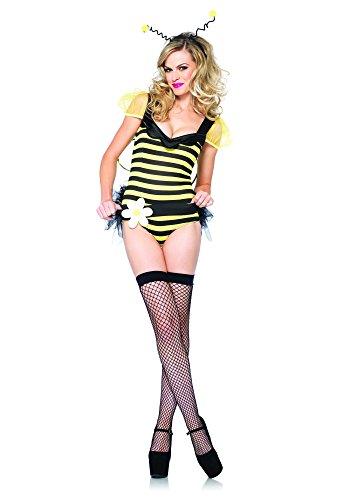 Leg Avenue Women's 4 Piece Bumble Bee Babe, Black/Yellow, (Leg Avenue Bumble Bee Costume)