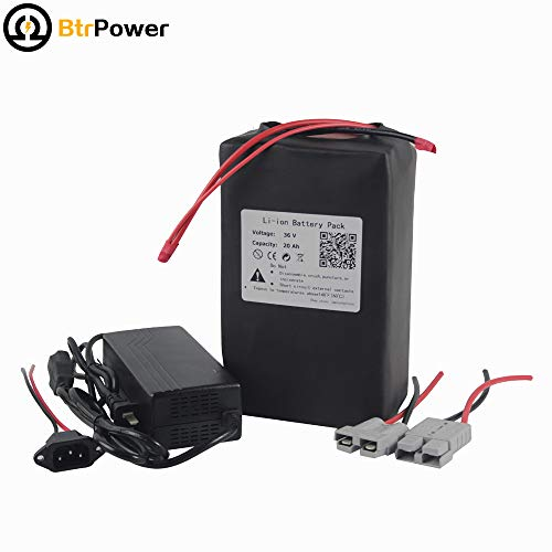 BtrPower 36V 20Ah Ebike Battery Lithium Li-ion Battery Pack for 1000W Electric Bicycle Scooter with 5A Charger BMS