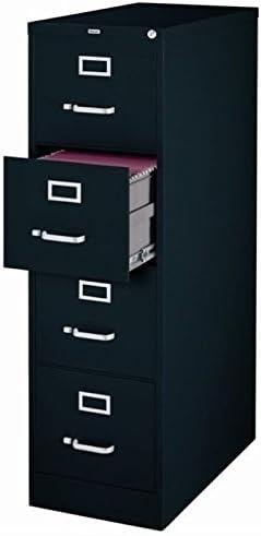 Scranton Co 4 Drawer 22 Deep Letter File Cabinet in Black, Fully Assembled