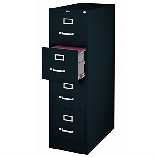 Scranton and Co 4 Drawer Letter File Cabinet in Black File Cabinet With Lock