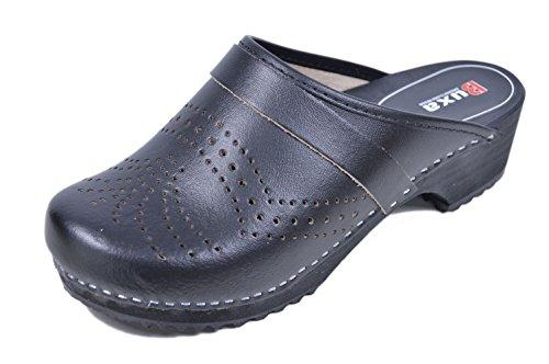 Buxa Zuecos de Cuero Unisexo, Agujero Diseño, Suela de Madera Negro
