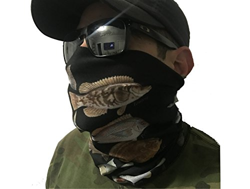Face Theme Paint (ELIASVFISHING & HOO-RAG Northeast Fish Species Face Shield Neck Gaiter Perfect For Fishing, Hunting, Hiking, Motorcycle Riding, Airsoft, Paintball, Camping, Canoeing, Kayaking)