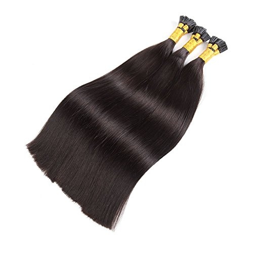 18'' 100S Stick I- Tip Hair Extensions 50 Grams Keratin Blonde Remy Human Hair Natural Straight Hair 100 Strands #1B Natural Black
