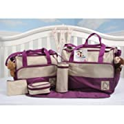 SoHo diaper bag Lavender 7 pieces nappy tote bag unisex for baby mom dad stylish insulated unisex multifunction waterproof large capacity includes changing pad stroller straps Lavender