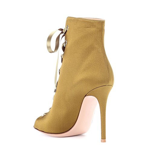 Ankle Toe up Women's Boots Satin Fashion Heel Lutalica Party Yellow high Peep Lace Sandal wtz1cWqWC