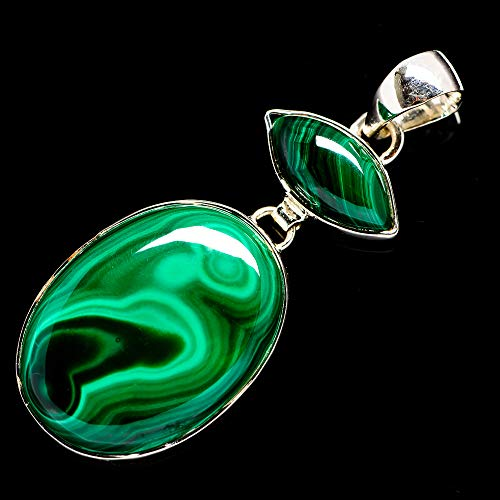 """Ana Silver Co Malachite Pendant 2 1/8"""" (925 Sterling Silver) - Handmade Jewelry, Bohemian, Vintage PD694440 from Ana Silver"""