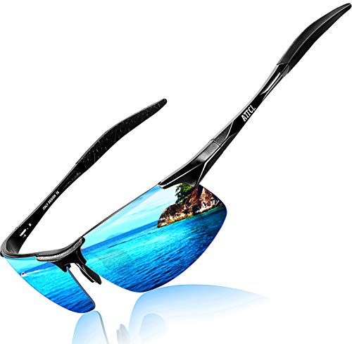 (ATTCL Men's Fashion Driving Polarized Sports Sunglasses for Men Al-Mg metal Frame 8177BLACK-BLUE)