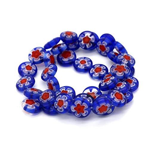 Calvas 80pcs/lot Beautiful Millefiori Glass Lampwork Beads 104mm Fit European Accessories Necklace Bracelet Earrings DIY Making - (Color: Royal Blue)