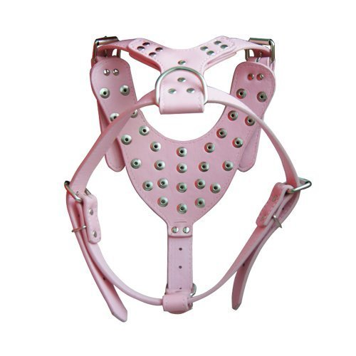 SKL Large Leather Spiked / Studded Dog Harness, Perfect for Pit Bull, Boxer, Bull Terrier (Pink studded harness)