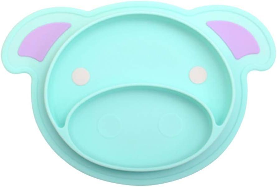 Yardwe Kind silikon Platte Matte sch/öne Schwein Platte Cartoon vergitterte Platte lebensmittelqualit/ät silikon Blaue Farbe Box Paket