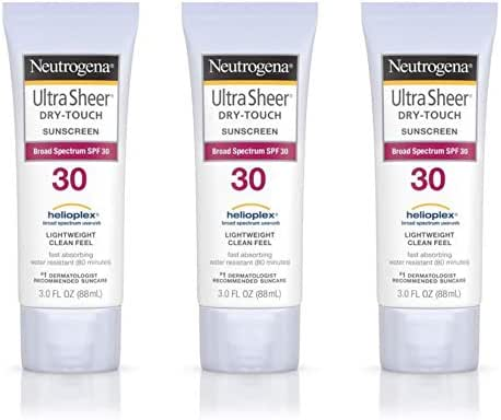 Neutrogena Ultra Sheer Dry-Touch Water Resistant and Non-Greasy Sunscreen Lotion with Broad Spectrum SPF 30, 3 fl. oz (Set of 2)