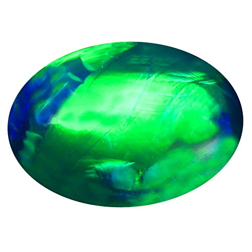 3.23 ct Oval Cabochon Cut (14 x 10 mm) Ethiopian Play of Colors Black Opal Loose Gemstone