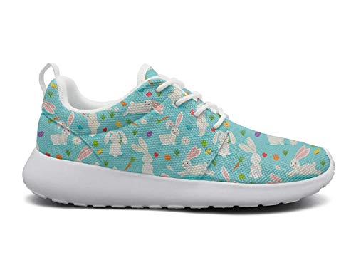 Women's Ultra Lightweight Breathable Mesh Athleisure Sneakers Cute White Rabbit Bunnies Wth Carrots Blue Fashion Walking Shoes -