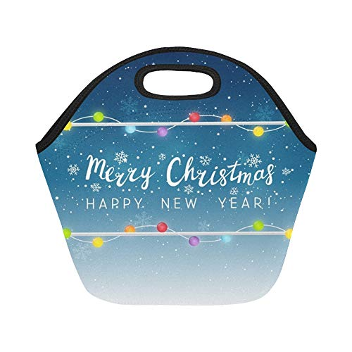 Insulated Neoprene Lunch Bag Christmas Light Bulbs On Starry Large Size Reusable Thermal Thick Lunch Tote Bags For Lunch Boxes For Outdoors,work, Office, -