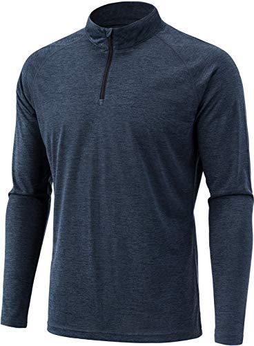 - TSLA Men's 1/4 Zip HyperDri Cool Dry Active Sporty Shirt Top, Hyper Dri(mkz03) - Slate Grey, X-Large