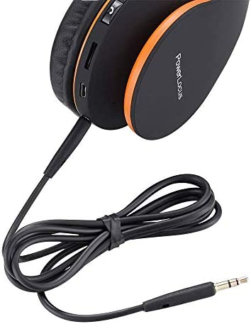 PowerLocus Wireless Bluetooth Over-Ear Stereo Foldable Headphones, Wired Headsets with Built-in Microphone for iPhone, Samsung, LG, iPad (Orange) 418oe1fMqkL