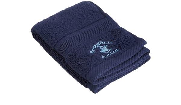 Beverly Hills Polo Club 100% bajo Twist Algodón Toalla, algodón, azul marino, 13 by 13: Amazon.es: Hogar