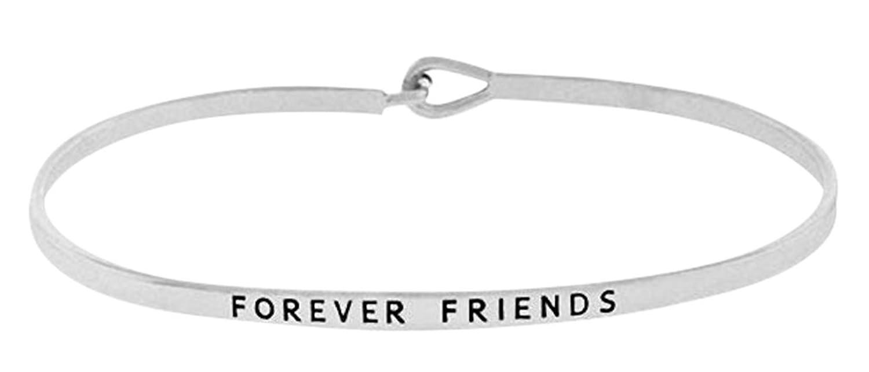 """""""FOREVER FRIENDS"""" Thin Brass Bangle Hook Friendship Bracelet for Best Friends, BFF, Besties"""