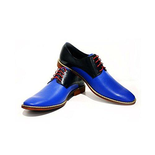 Modello Sassuolo - Handmade Italiano da Uomo in Pelle Blu Scarpe da Sera - Vacchetta Pelle Morbido - Allacciare