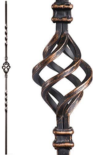 (Oil Rubbed Bronze 16.1.3 Single Basket Solid Iron Baluster for Staircase Remodel, Box of 5)