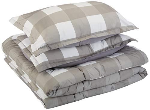 AmazonBasics Comforter Set - Soft, Easy-Wash Microfiber - Full/Queen, Dark Grey Oversized Gingham