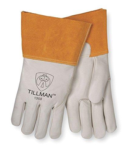 (John Tillman & Co 1350L Top Grain Pearl Gray Leather Premium Grade TIG Welders Glove With Kevlar Stitching, Wing Thumb, 4