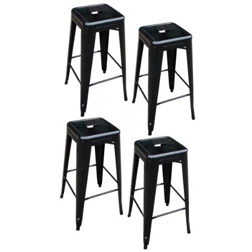 AmeriHome Metal Bar Stool Set, 30-Inch, Black, Set of (4 Stool Set)