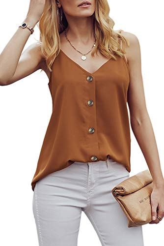 FZ FANTASTIC ZONE Women's V Neck Button Strappy Tank Top Loose Casual Sleeveless Cami Shirt Blouse Orange