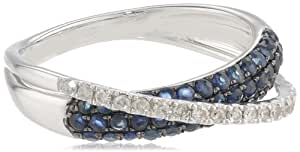 14k White Gold Created Blue Sapphire and Diamond-Accent Criss Cross Ring, Size 7