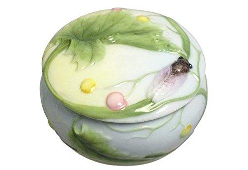 - 3.5 Inch Porcelain Lidded Trinket Box with Cicada and Leaf Motif