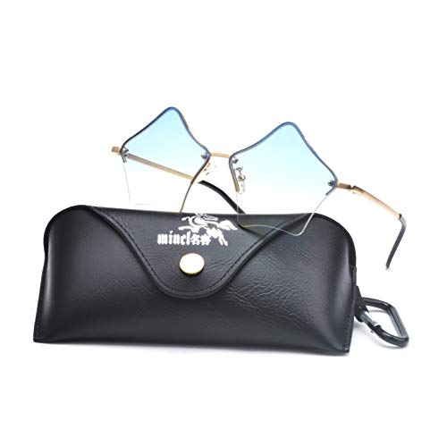 MINCL/Super Cute Star Shape Rimless Sunglasses Metal Frame Transparent Candy Color Eyewear (gold-green)]()