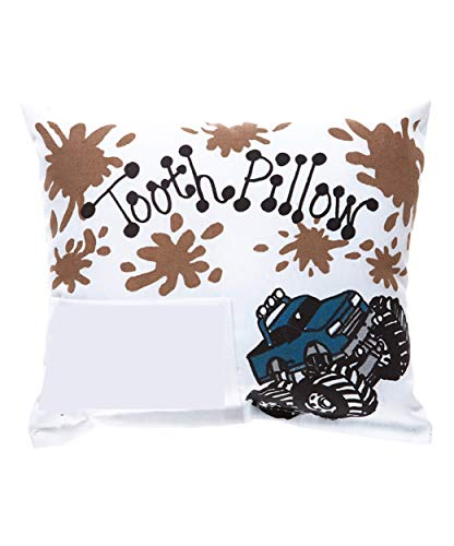 Bunnies and Bows Tooth Fairy Pillow with Tooth Fairy Dust and Poem - Blue Monster Truck with Mud Splatter - 6.5