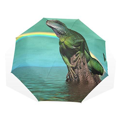 HangWang Umbrella Water Lizard Rainbow Travel Golf Sun Rain Windproof Umbrellas with UV Protection for Kids Girls Boys