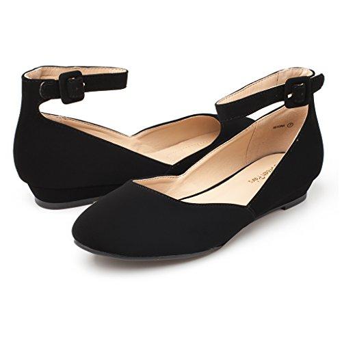 Pairs Dream Revona Women's Black Ankle Wedge Strap Shoes Flats Nubuck Low d11FqB