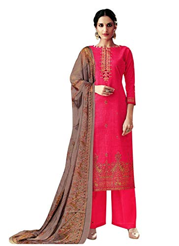 Ladyline Readymade Foil Printed Cotton Salwar Kameez with Chiffon Dupatta Ready to Wear Indian Dress (Size_54/ Pink)