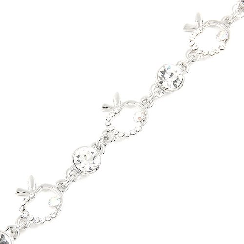 Crystal Apple Plated Silver Swarovski (Glamorousky Apple Bracelet with Silver Austrian Element Crystals (1650))