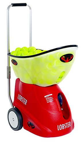 Lobster Sports - Elite Grand Four - Battery-Powered Tennis Ball Machine - Grinder Drill - Six Pre-Loaded Drills - Fully Random Oscillation - 2-Line Feature - Translucent Hopper - 150-Ball Capacity