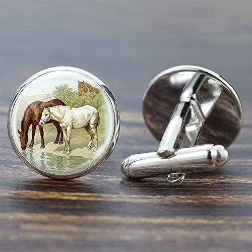 CHENTAOCS 馬のカフスシルバースーツシャツベストマンカフスセットガラスカボションジュエリーファッションメンズカフスボタンのギフト (色 : As shown)